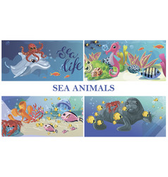 cartoon sea underwater life concept vector image