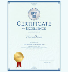 certificate of excellence template with gold vector image