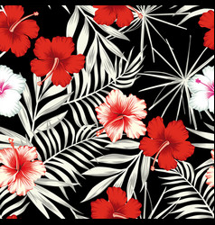 color hibiscus on black white leaves seamless vector image