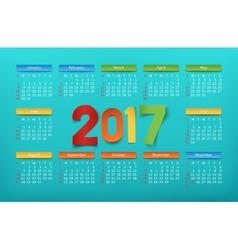 Colorful calendar template for a year 2017 vector