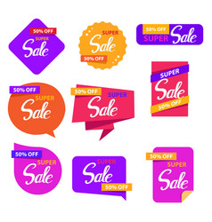 colorful sale sticker set design vector image