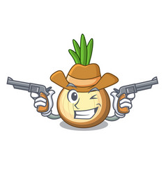 Cowboy character fresh yellow onion on table vector