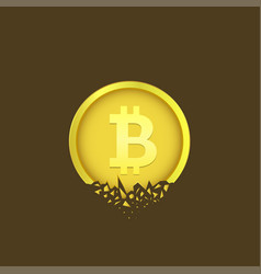 cracked bitcoin coin vector image
