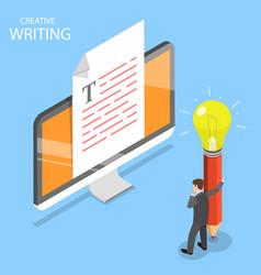 creative writing flat isometric concept vector image