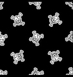 Cute punk rock skull monochroem lineart background vector