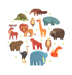 cute wild jungle animals round shape zoo park vector image