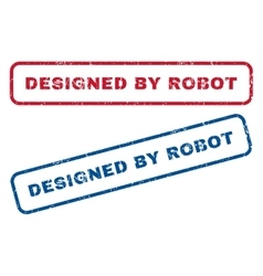 Designed by robot rubber stamps vector