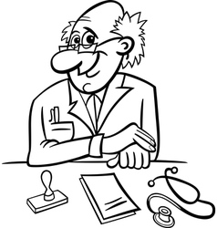 doctor in clinic black and white cartoon vector image