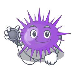 Doctor sea urchin drawing engraving ink cartoon vector