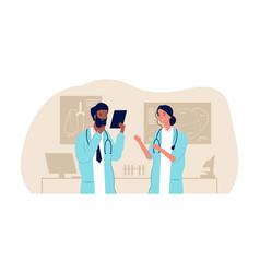 Doctorc couple interracial male female nurses vector