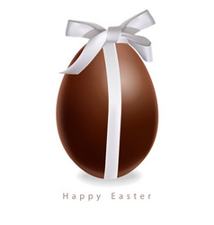 easter chocolate egg gift bow realistic vector image