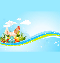 easter greeting template paschal hen eggs vector image