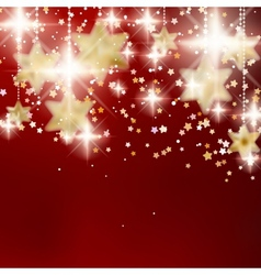 Festive red Christmas background with golden stars vector