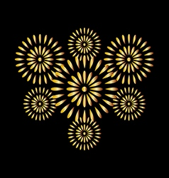 Fireworks gold on black background vector