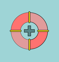 Flat icon design collection lifebuoy with a cross vector