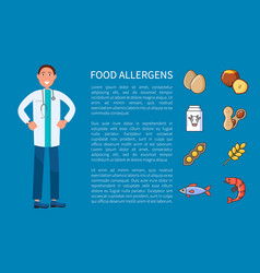 Food allergens posters with icons vector