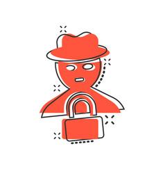 Fraud hacker icon in comic style spy cartoon on vector