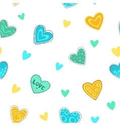 Funny girlish printable texture with cute hearts vector
