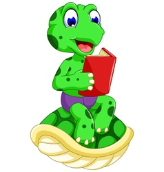funny turtle cartoon reading book vector image
