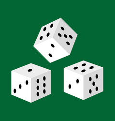 Gambling white dice for casino risk and success vector