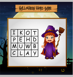 Game halloween find the word of witch vector