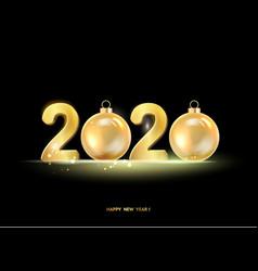golden hristmas balls on black background vector image