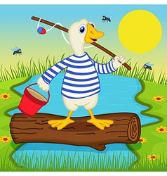 Goose goes fishing vector
