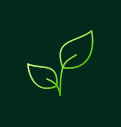 green leaves modern outline icon or logo vector image