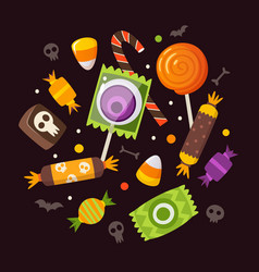 halloween sweets and candies vector image