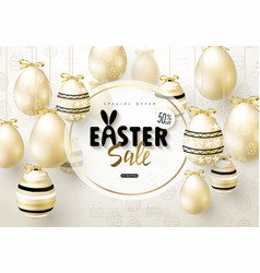 Happy easter sale bannerbackground with realistic vector