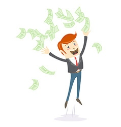 Happy office man hipster throwing money vector