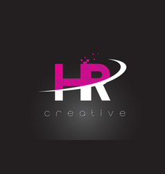 Hr h r creative letters design with white pink vector