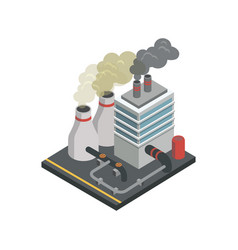 Industrial building factory isometric 3d element vector