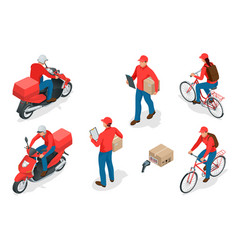 Isometric delivery service or courier service vector