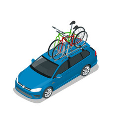 Isometric wagon car with two bicycles mounted on vector