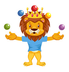 juggling lion on white background vector image