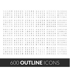 Large icons set 600 outline black vector
