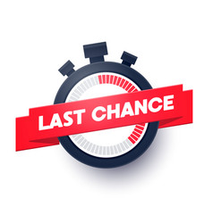 last chance web banner with modern stop watch icon vector image