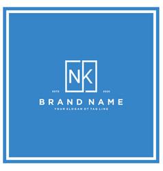 Letter nk square logo design concept vector