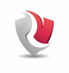 Letter r shield logo design vector