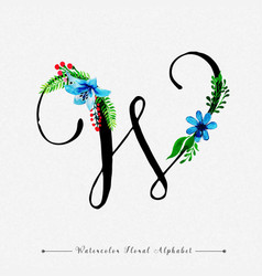 letter w watercolor floral background vector image