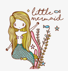 Little mermaid cute cartoon vector