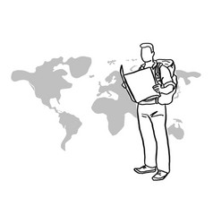 Male traveler holding map sketch vector