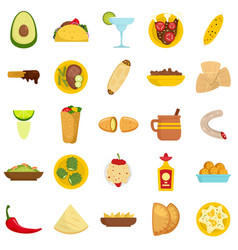 Mexican food icon set flat style vector