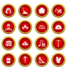 Miner icon red circle set vector