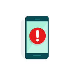 Mobile phone alarm or alert sign icon flat vector