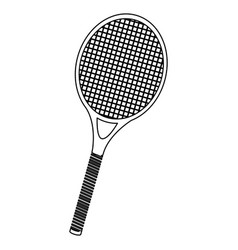 monochrome contour of tennis racket vector image