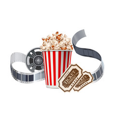 movie cinema poster popcorn tape tickers vector image
