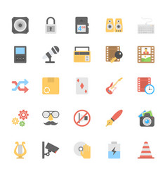 Multimedia flat colored icons 5 vector