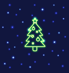 neon christmas tree icon in line style vector image